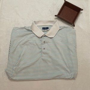 Jack Nicklaus White with Teal Stripes Polo Shirt